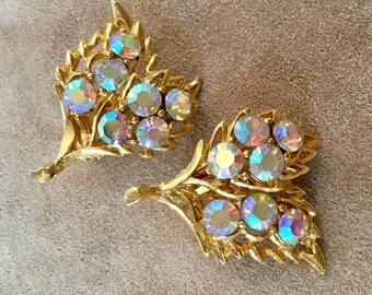 Aurora Borealis Rhinestone Vintage Clip Earrings