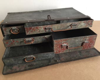 Metal box with drawers