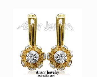 18k Yellow Gold Genuine 1.10 CWT Diamond tulpan Earrings E1106