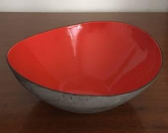 Mid Century Red Enamel Krenit Bowl