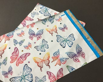 50 12x15.5 Designer BUTTERFLIES Poly Mailers Blue Pink Envelopes Shipping Bags