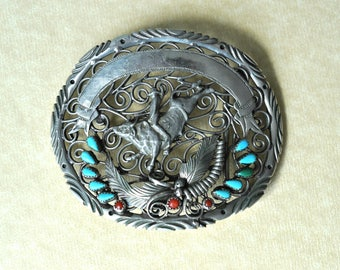 Bull Rider Belt Buckle, Silver Tone, Turquoise Belt Buckle, Rodeo, Engraveable, Large Belt Buckle, Bull Belt Buckle, Men's Jewelry GS1010