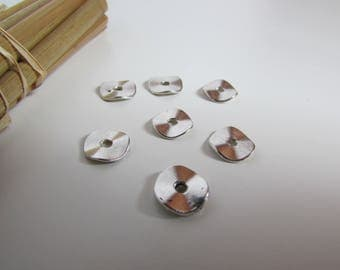 20 spacer beads wavy flat and round silver, bronze colored metal - 0.9 cm in diameter - 2 mm hole