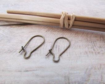 20 petit crochet créole pour boucle d'oreille, métal bronze, doré, argenté - 18 x 10 mm