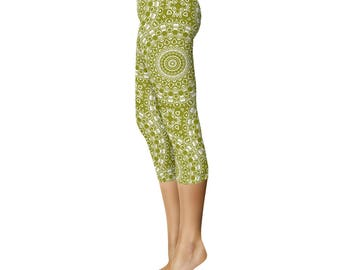 Capri Leggings - Olive Green Yoga Pants, Mandala Yoga Wear, Printed Workout Leggings