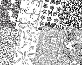 Digital Gift Wrap Christmas - 8 Pack | Printable coloring page Christmas gift wrap - great DIY wrapping paper idea. PDF digital download