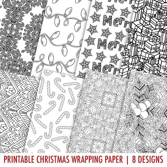 digital gift wrap christmas 8 pack printable coloring page. Black Bedroom Furniture Sets. Home Design Ideas