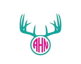Deer antler monogram download, unique animal svg, dxf, eps, ai, png, instant download, cute monogram, mono, hunting monogram, girly gift