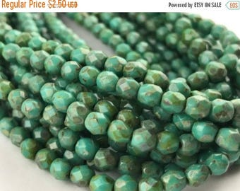 40% OFF Just Because Persian Turquoise Picasso Faceted Fire Polished Czech Glass Beads 4mm