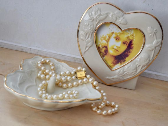 Vintage Ivory ceramic heart shaped photo frame and matching ring dish, embossed flowers,  gold edge, gift, wedding gift for him or her,