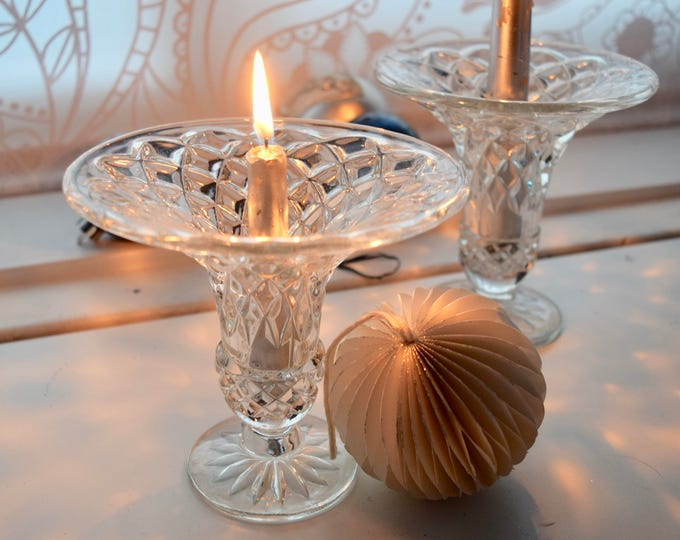 Featured listing image: Pair of elegant and perfectly fabulous pressed glass vintage candle holders, Christmas gift, dinner party, dinner for two,