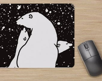 Mouse pad, polar bear family, polar bears, snow, image of polar bears, drawing of polar bear, painting of polar bears, white bears,