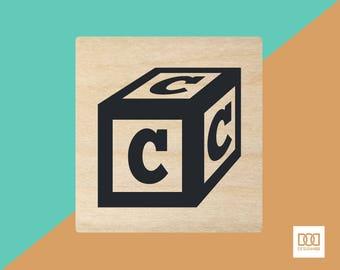 Alphabet Block C - 3cm Rubber Stamp (DODRS0142)