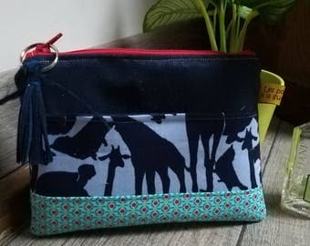 """Silhouettes of animals"" suede pouch"