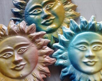 Colorful ceramic sun wall decor