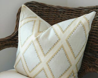 Contemporary pillow cover turquoise yellow from Sarah Richardson, linen Diamond pattern pillow, Kravet pillow cover, Cottage pillow decor