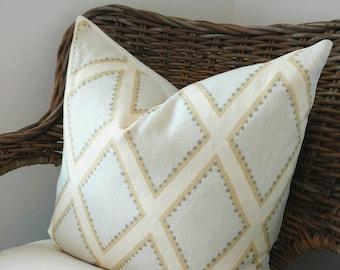 Designer pillow, Sarah Richardson pillow cover, green teal diamond pillow cover, Brookehaven Celadon, Sarah Richardson Cottage pillow cover