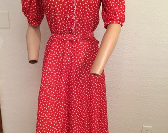 Vintage Summer Dress Medium Red with White Polka Dots
