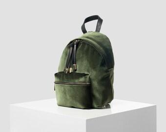 Backbag green velvet