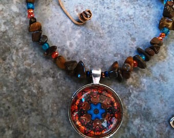 Great Bohemian Style Necklace, Tiger Eye, browns, oranges, and turquoise colors