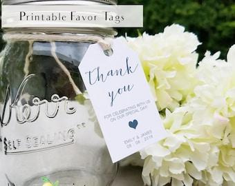 Printable navy favor tags, printable personal favor tag, navy wedding favor tags, thank you gift tags, printable tags, wedding favor tags