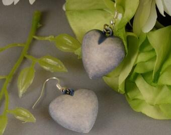 Heart Shaped Earring, Purple Dangle Earrings, Lavender Earrings, 90s Earrings, Grunge Earrings, Dusty Purple Heart Earrings