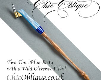 Oblique pen holder, Two tone Blue Pearlised Body with Wild Olivewood Tail