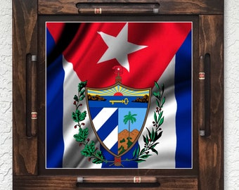 Wooden/wood domino table top-Cuba Flag-Made in USA