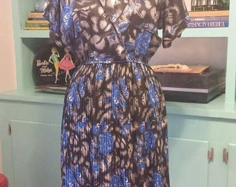 25%OFF 80s Blue and Black Floral Dress Career M