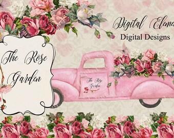 Pink Truck Clip-art, Pink Rose Clip art, Valentine Rose Clip-art, Shabby Vintage Roses, Pink Heart Clip-art, Rose Garden. No. WC88