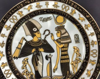 Vintage Egyptian Ceramic Plate- Isis and Osirs  Hand painted Designer Fathi Mahmud  Made In Egypt