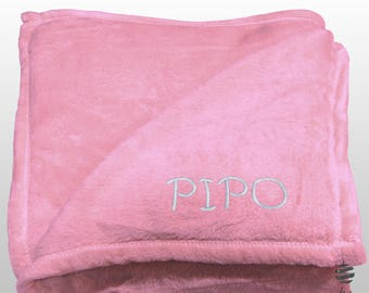 Personalized Multi-use Polar Sofa Bed Travel Fleece Blanket with Name - Ref. Dulcelina - Pink Mauve