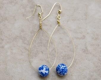 Delicate Gold Wire Tear Drop Hoop