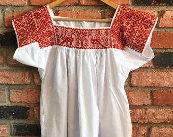 Embroidered Mexican Blouse - M White