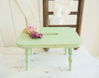 Stool stool footstool Shabby Chic pedal footrest green green