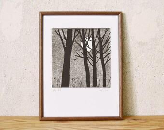 Moon series 7 · original linocut · Limited Edition · DIN A5