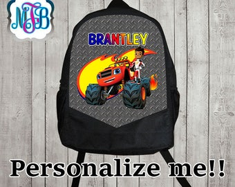 Personalized Blaze and the monster machines backpack/blaze shirt backpack/boys backpack/personalized boys backpack/ black backpack/B100