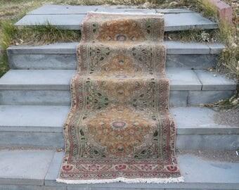 Rare Vintage Turkish Rug, Handknotted Anatolian Rug, 2.2 x 6.7 Feet, Free Shipping Oushak Rug, Livingroom Rug, Boho Rug, Area Rug No 1358