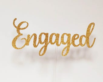 Engaged glitter topper
