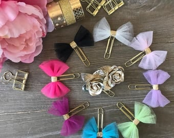 TULLE BOW PLANNERCLIPS with Gold Center