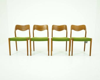 308-082 Danish Mid Century Modern 4 Teak Dining Side Chairs by Niels Moller 71