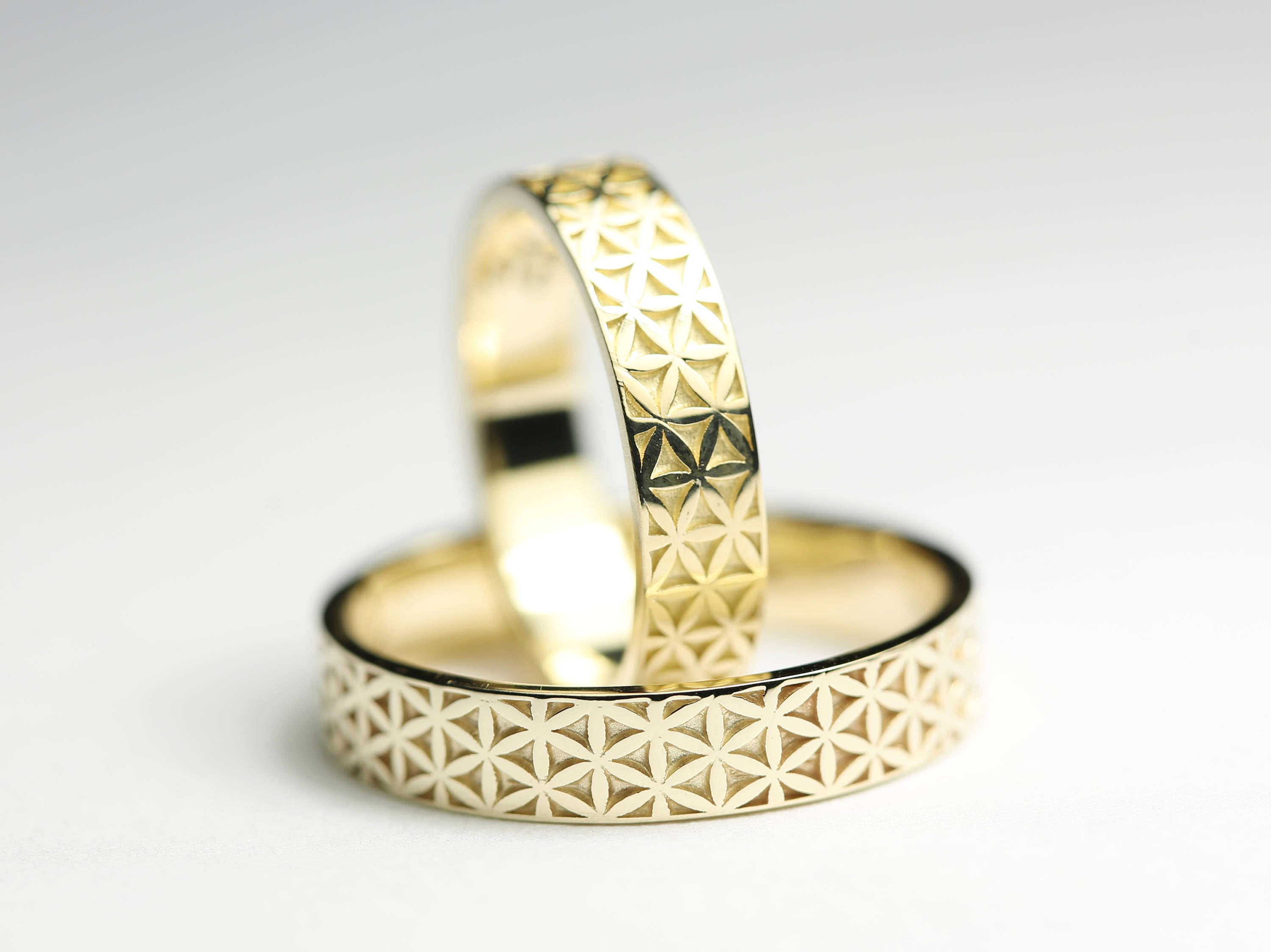 with wedding chalice steel beautiful pin hers yellow gold damascus set rings a