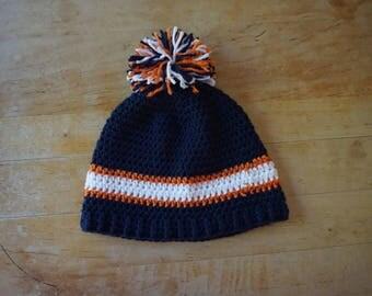 Crochet blue, orange and white winter hat, Detroit tiger's hat, blue winter hat, hat crochet, men's hat, hat men, women's hat, hat women