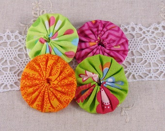 x 4 fabric flowers yoyos multicolor ref29
