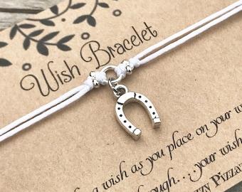 Horseshoe Wish Bracelet, Make a Wish Bracelet, Wish Bracelet, Friendship Bracelet, Lucky Bracelet, Horse Bracelet, Gift for Her, Horse Lover