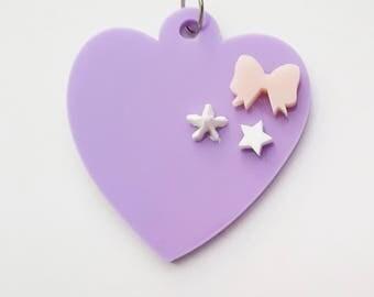 Kawaii Heart Pendant, Acrylic, Pink, Purple, White, Jewellery, 80s, bow, star, whipple, decoden, made in australia, laser cut,