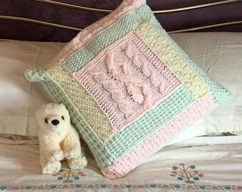 Tessie Knitted Cusion Cover Pattern Aran Texture Modular No Sew Beginner