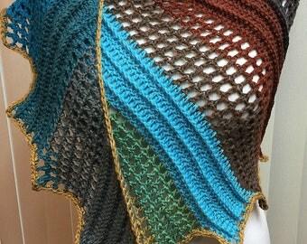 Crochet Shawl, Lizard Shawl, Dragon Wing Shawl, Asymmetrical Shawl, Winged Shawl, Ladies Shawl, Gifts for Her, Multi Colored Shawl