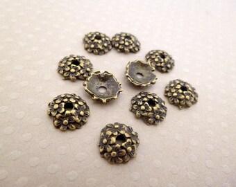 Set of 10 bead caps 11mm - CB-0848 bronze