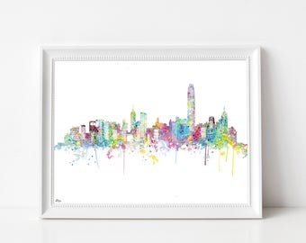 Hong Kong poster, China, watercolor skyline panorama art print, cityscape, Fine Art paper, wedding gift idea